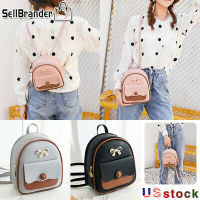$6.99 • Buy Women Girls PU Leather Backpack School Bag Mini Rucksack  Purse Travel Handbag