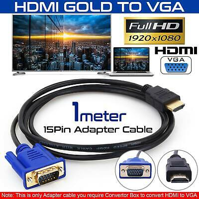 HDMI Male To VGA Male Video Converter Adapter Cable Cord 1080P HDTV UK 1.8M-10M • 5.99£