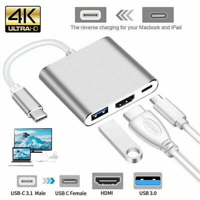 AU9.46 • Buy USB 3.1 Type-C To 4k HD HDMI HUB USB-C 3IN1 Charging Port Adapter Cable/Cord ET