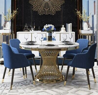 AU2490 • Buy Round White Marble Dining Table With Shiny Gold Iron Base 8 Seater Dining Table