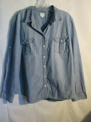 $24.97 • Buy J Crew Chambray Denim Perfect Fit  Shirt  Size XL Button Front Blouse Pocket