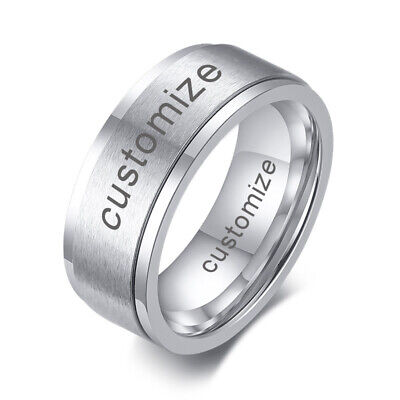 Men Wedding Ring Stress Reliever Spinning Spinner Band Stainless Steel Engraving • 3.99£