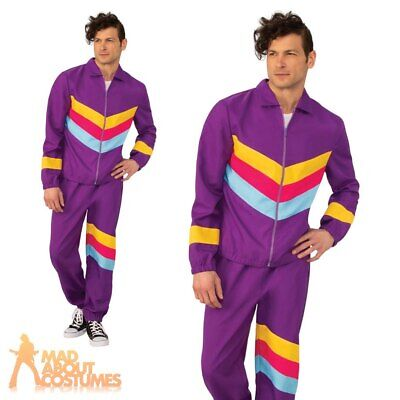 Adult Mens 1980s Purple Shell Suit Costume Scouser Tracksuit Fancy Dress Outfit • 16.49£