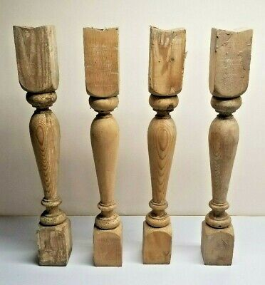 $51.99 • Buy (4 PCS) Arch Salvage Antique 22  Victorian Wooden Spindle Balusters Circa 1909