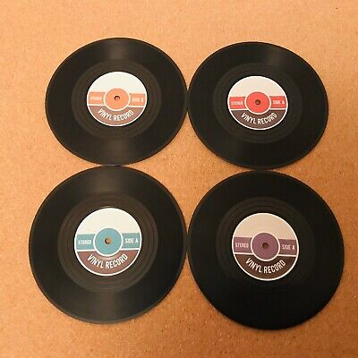 Vinyl Records Coasters Retro Music Fan Drinks Beer Mats 4 Off Brand New In Box • 2.75£