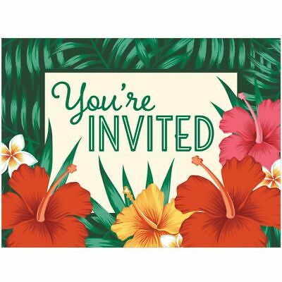 Tropical Flowers Postcard Invitations 8 Pack Luau Party Supplies Decorations • 2.33£