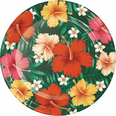 Tropical Flowers 9 Inch Paper Plates Luau Party Supplies Decorations • 2.07£