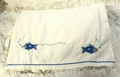 $17.99 • Buy POTTERY BARN KIDS Crib Bed Skirt Little Blue Fish Nautical Ocean Sea Baby Pleats