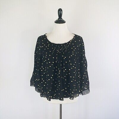 $ CDN33 • Buy Anthropologie Floreat Womens Top Size M Medium Polka Dot Ever After Bell Sleeve