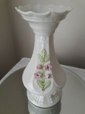 Belleek Pottery Vase Approx 17 Cm High In Good Condition • 17.99£