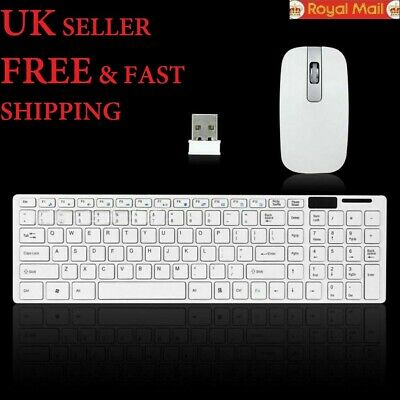 Wireless Slim Keyboard And Mouse 2.4GHz Cordless Set For Laptop Desktop PC White • 12.69£