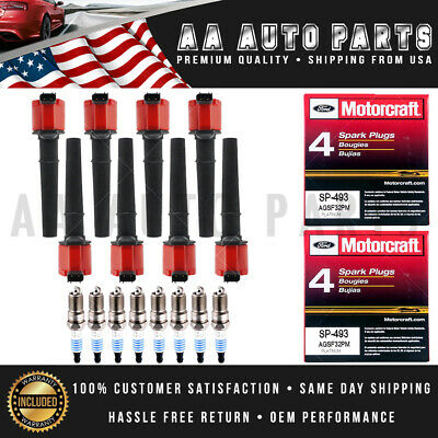 $55.64 • Buy Red UF191 Ignition Coils & SP493 MotorCraft Spark Plugs 8PCS For Ford & Lincoln