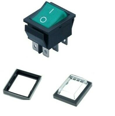 6 Pin Rocker Switch 16A Green ON-OFF Double Pole DPDT 240V & Weatherproof Cover • 5.25£