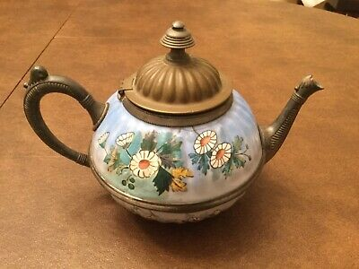 $40 • Buy Beautiful Antique Enamelware Pewter Blue With White Flowers Enamel Teapot