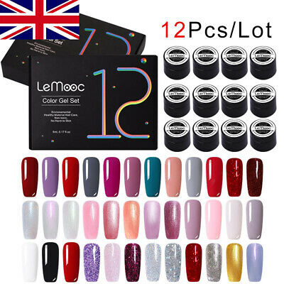 12Box/set LEMOOC Gel Nail Polish Set Soak Off Colorful Glitter UV Gel Varnish • 12.99£