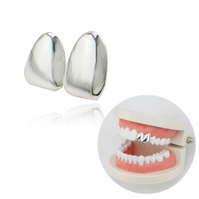 Silver Double Tooth Grill Clip On Plated Teeth Cap Grills Bling Hip Hop UK • 8.99£