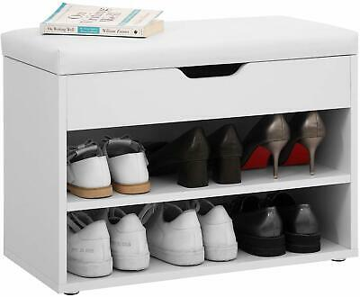 £35.99 • Buy Wooden Shoe Rack Storage Bench Ottoman Shoes Cabinet Padded Seater With Cushion