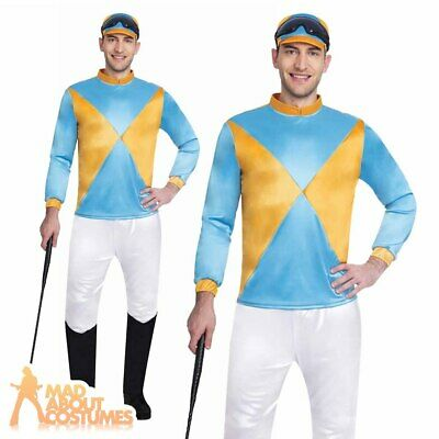 Adult Mens Jockey Costume Horse Rider Grand National Fancy Dress Outfit Book Day • 16.99£