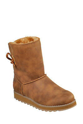 Skechers Keepsakes Hearth Boots NEW Woman's Size 6 W/Faux Fur Chestnut • 16.64£