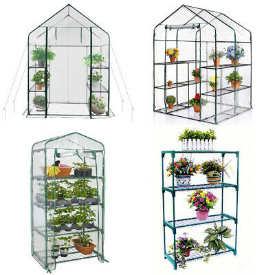 Walk In Greenhouse PVC Plastic Garden Grow Green House Steel Frame Plant Stand  • 57.95£