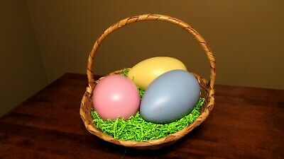 Vintage Wicker Basket With Handle - Plastic Easter Egg Blow Molds- Lot Of 3 • 21.60£