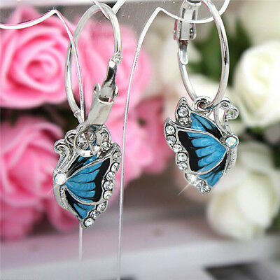 New Fashion Sparkling Crystal Diamante Blue Butterfly Hoop Silver Earrings  • 1.49£