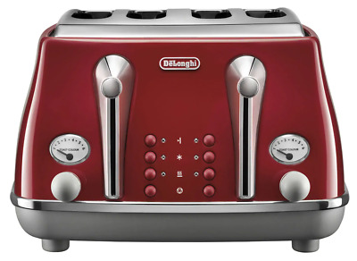 AU167 • Buy Delonghi CTOC4003R Icona Capitals 4 Slice Toaster With Bagel Setting - Tokyo Red