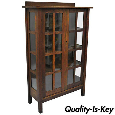 $9500 • Buy Gustav Stickley Mission Arts Crafts Oak Glass Door China Cabinet Curio Bookcase