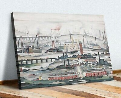 CANVAS WALL ART ARTWORK FRAMED PRINT PAINTING Ls Lowry Industrial Landscape • 25.49£