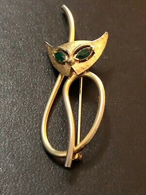 $9.95 • Buy Emmons Cat Brooch Green Eyes Signed Estate Jewelry