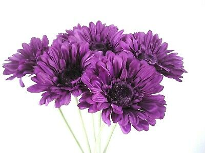 £6.95 • Buy Quality Artificial / Silk Flowers Cadbury Purple Gerbera  Bunch Of 6 Stems