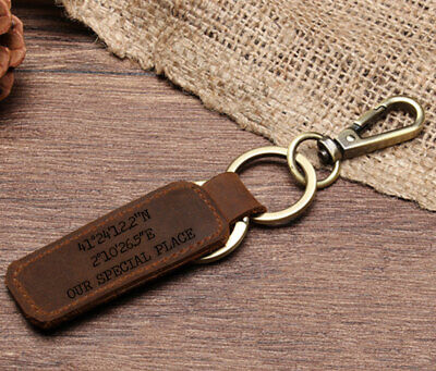 £5.99 • Buy Personalised Leather Keyring Belt Loop Car Keychain Fathers Day Gifts Any Text