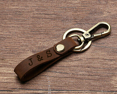 £4.99 • Buy Personalised Leather Keyring Fathers Day Gifts Belt Loop Car Keychain Any Text