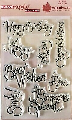Woodware Just To Say With Love Happy Birthday 8 Pce Clear Stamp Set Card Making • 6.99£
