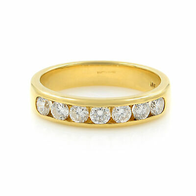 $1520 • Buy Channel Set Solid Gold Round Diamond Wedding Anniversary Band Ring 0.5ct 5.5 18K