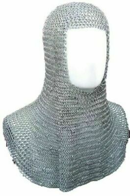 Steel Chain Mail Coif Golden Polish 16 SWG Knight Coif Medieval Hood LARP Qualit • 37.99£