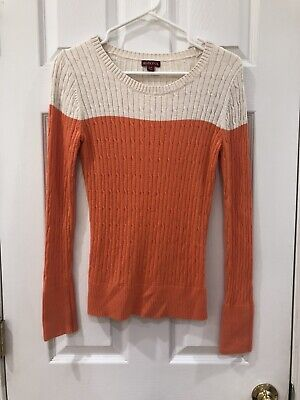 $1.50 • Buy Women's Merona Sweater Size Small Orange And White