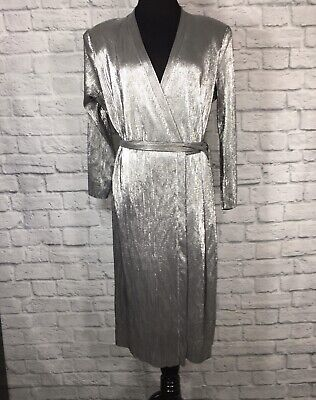 $36 • Buy Zara Basic Collection Wrap Dress Metallic Silver Lame' Belted Pleated Large L