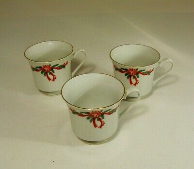 $12.99 • Buy 3 Poinsettia And Ribbons Tea Coffee Cups Fairfield Tienshan Replacements