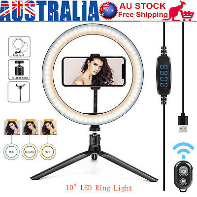 AU15.39 • Buy LED Ring Light Studio Photo Video Dimmable Lamp Tripod Stand Selfie Camera Phone