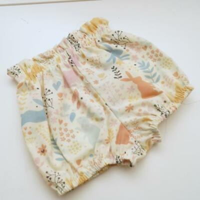 Handmade Ivory Bunny High Waisted Print Baby Bloomers Size 0m To 24m • 11.99£