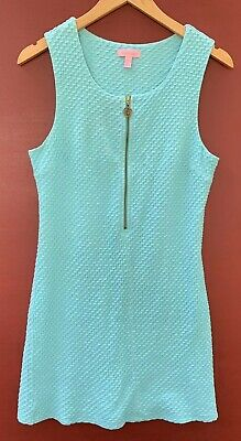 $40.50 • Buy Lilly Pulitzer Dress Large Aqua Blue Lynd Shift Sleeveless 12 14 Cotton Blend