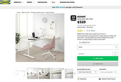 AU150 • Buy Desk For Student Or Office - Bekant IKEA -  AS NEW   HALF PRICE