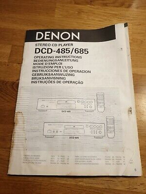 MANUAL FOR DENON DCD 485/685 CD PLAYER Complete Paperwork • 9.99£