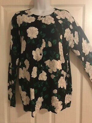 $8.99 • Buy Merona By Target Women's XXL Black  White Roses Crew Neck Button Up Cardigan