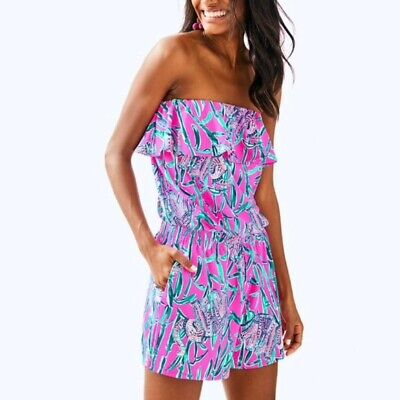 $64.99 • Buy NWT Lilly Pulitzer Anja Romper Mandevilla Pink Extra Lucky Size Small
