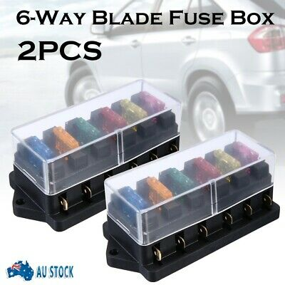 AU16.99 • Buy 2X 6 Way Blade Fuse Box Block Holder Circuit Standard Car Boat Marine 12V 24V