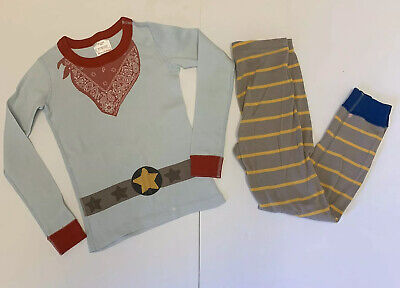 $6 • Buy Hanna Andersson Boys Pajamas 120 6-7 Cowboy Blue Yellow Striped *READ* Play