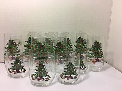 $40 • Buy NIB VNT Holiday Hostess Christmas Tree Tienshan Noel Glassware Set Of 12 ARC