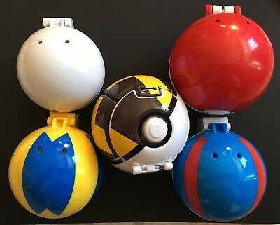 5 X Pokeballs Pokemon Figures TOMY Clip N Carry Great Ball Quick Premier RARE • 12.95£